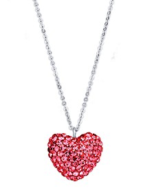 Pink Crystal Puffed Heart Pendant in Fine Silver Plate