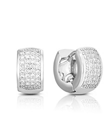 Cubic Zirconia Silver Pave Hoop in Fine Silver Plate
