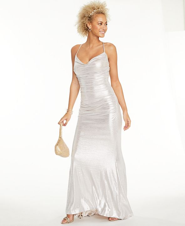 Eliza J Ruched Metallic Gown