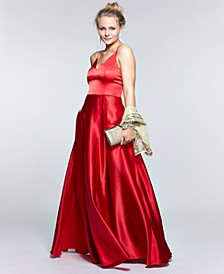 Juniors' Double-Strap Gown