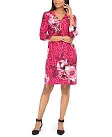 Printed Zip-Neck Sheath Dress, Created For Macy's