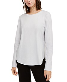 Crewneck Shirttail-Hem Top