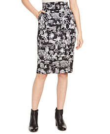 Belted Tropical Scene-Print Skirt