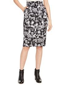 Belted Tropical Scene-Print Skirt