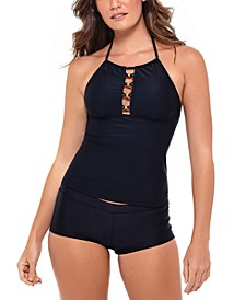 Juniors' Ribbed Tankini Top & Swim Shorts, Created for Macy's