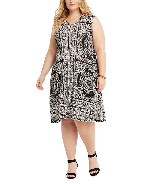 Plus Size Printed Sleeveless Dress, Created For Macy\'s