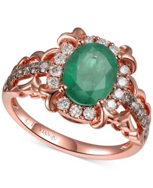 Costa Smeralda Emerald (1-1/3 ct. t.w.) & Diamond (3/8 ct. t.w.) Ring in 14k Rose Gold