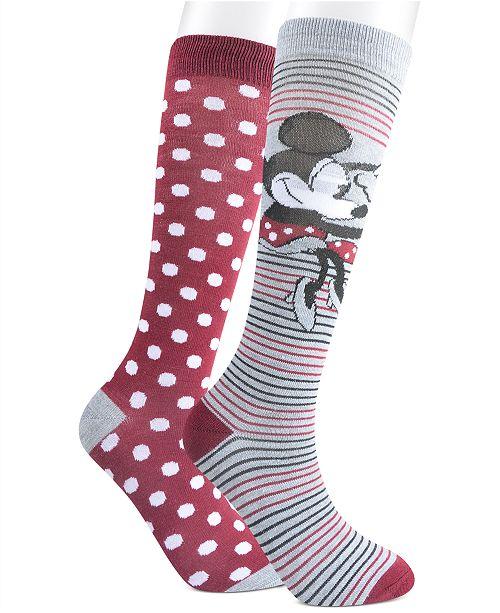 Planet Sox Women's 2-Pk. Minnie Mouse Knee-High Socks
