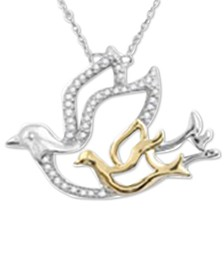 """Diamond Bird Mother & Child 18"""" Pendant Necklace (1/10 ct. t.w.) in Sterling Silver & 10k Gold"""