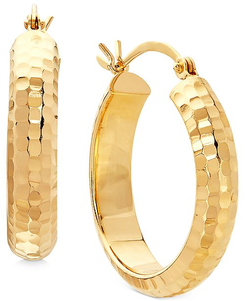 Macy's Small Hammered Hoop Earrings in 14k Yellow Gold or White Gold