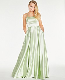 Juniors' Strappy-Back Satin Ball Gown, Created For Macy's