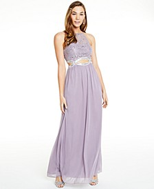 Juniors' Glitter Lace & Sheer Jersey Infinity-Waist Gown, Created for Macy's