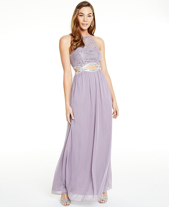 Speechless Juniors' Glitter Lace & Sheer Jersey Infinity-Waist Gown, Created for Macy's
