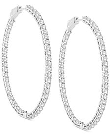 Diamond Large In & Out Oval Hoop Earrings (5 ct. t.w.) in 14k White Gold, 2.34""