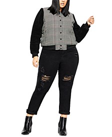 Trendy Plus Size Houndstooth Bomber Jacket