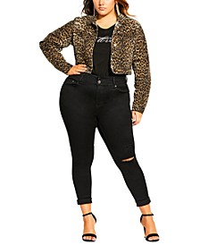 Trendy Plus Size Animal-Print Jacket
