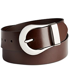 Flat-Strap Statement Buckle Leather Belt