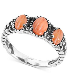 Orange Spiny Oyster Three Stone Statement Ring in Sterling Silver