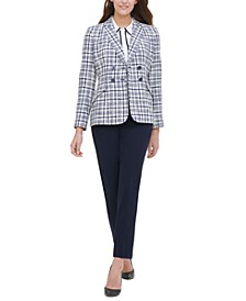 Plaid-Print Double-Breasted Blazer, Contrast-Trim Blouse & Sloane Ankle Pants