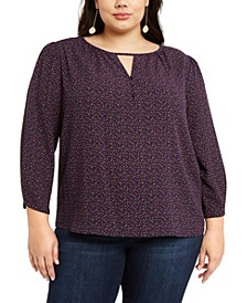 Trendy Plus Size Printed Keyhole Top