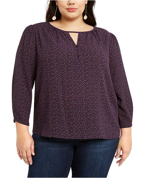 1.STATE Trendy Plus Size Printed Keyhole Top