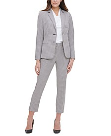 Plaid-Print Elbow-Padded Blazer, Knot-Neck Top & Printed Elastic-Waist Pants