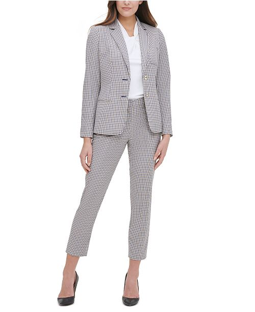 Tommy Hilfiger Plaid-Print Elbow-Padded Blazer, Knot-Neck Top & Printed Elastic-Waist Pants