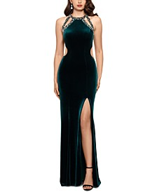 Strappy Sequined Velvet Gown