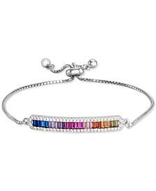 Cubic Zircona Rainbow Bolo Bracelet in Sterling Silver