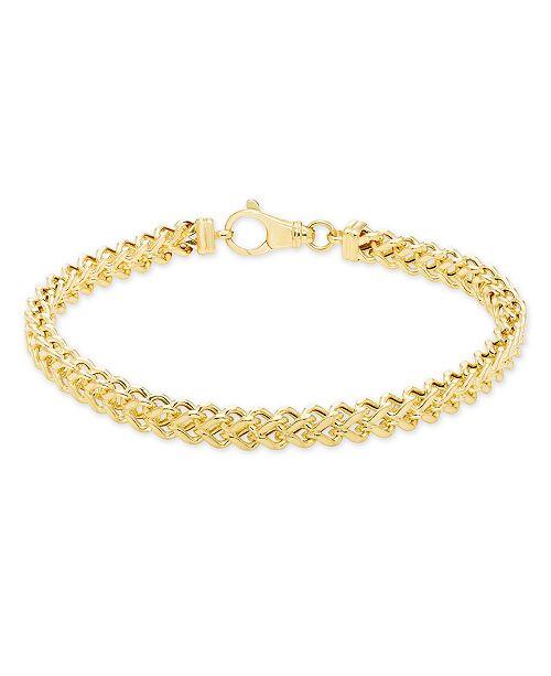 "Macy's Men's Polished Square Franco 8.5"" Link Bracelet in 10K Yellow Gold"