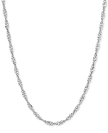 "Singapore Link 18"" Chain Necklace in Sterling Silver"