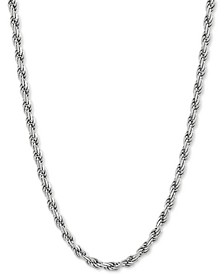 "Rope Link 24"" Chain Necklace in Sterling Silver"
