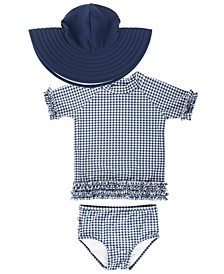 Baby Girls Ruffled Rash Guard Bikini Swimsuit Swim Hat Set, 2 Piece