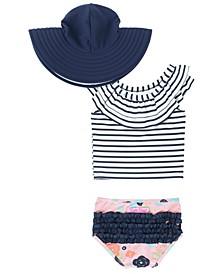 Toddler Girls Ruffled Tankini Swimsuit Swim Hat Set, 2 Piece