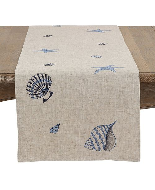 Saro Lifestyle Sealife Linen Blend Runner