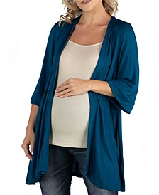 Open Front Elbow Length Sleeve Maternity Cardigan