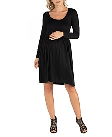 Knee Length Pleated Long Sleeve Maternity Dress