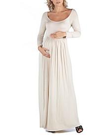 Long Sleeve Pleated Maxi Maternity Dress