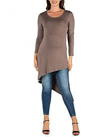 Full Length Long Sleeve Asymmetric Hem Maternity Top
