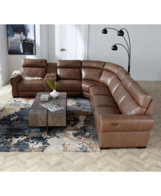 Josephia 5-Pc. Leather Sectional with 2 Power Recliners, Created For Macy's