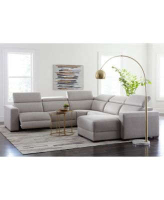 Nevio 6-pc Leather Sectional Sofa with Chaise, 3 Power Recliners and Articulating Headrests, Created for Macy's
