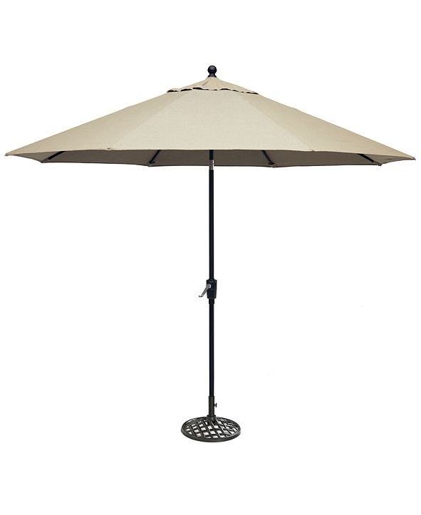 Furniture Chateau Outdoor 11' Push Button Tilt Umbrella with Base with Sunbrella® Fabric, Created for Macy's