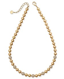 "Gold-Tone Pavé-Fireball & Bead Collar Necklace, 17"" + 2"" extender, Created for Macy's"