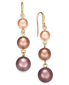 Gold-Tone Imitation Pearl Linear Drop Earrings, Created For Macy's