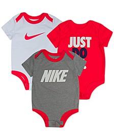 Baby Boys 3-Pk. Short-Sleeve Logo Bodysuits Set