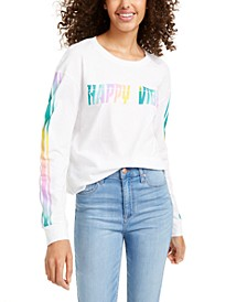 Juniors' Happy Vibes Long-Sleeved Graphic T-Shirt