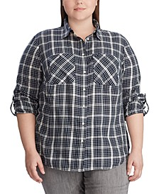 Plus Size Plaid Twill Shirt