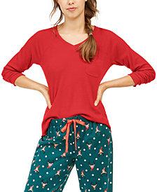 Jenni Women's Ribbed Knit Pajama Top, Created For Macy's
