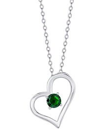 Simulated Birthstone Heart Pendant Necklace in Fine Silver Plate