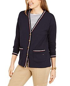 Striped-Trim Cardigan